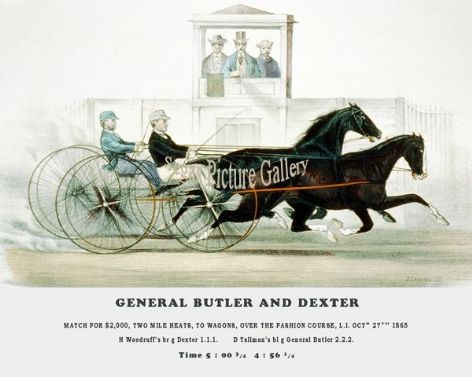 Fine art Horseracing Print of the 1800's Racing and Trotting of General Butler and Dexter Trotting over the Fashion Course L.I. Oct 27th 1865